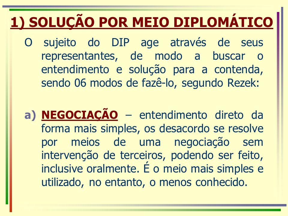 1) SOLUÇÃO POR MEIO DIPLOMÁTICO O sujeito do DIP age através de seus representantes, de modo a buscar o entendimento e solução para a contenda, sendo