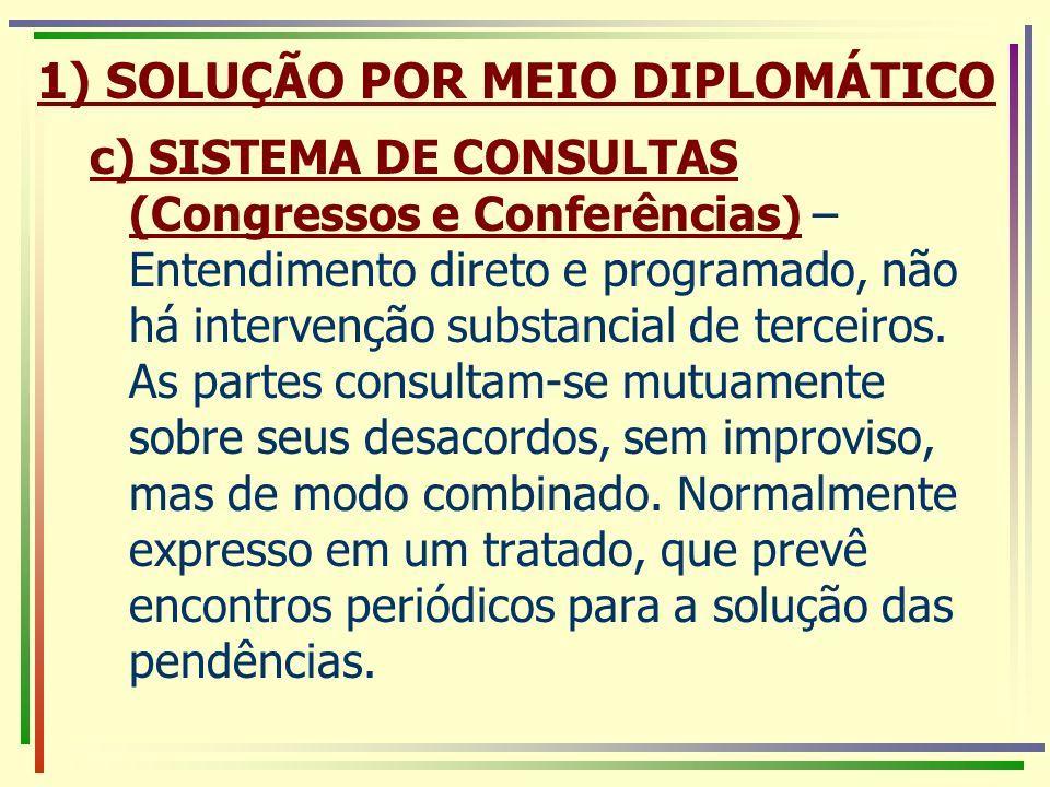 1) SOLUÇÃO POR MEIO DIPLOMÁTICO c) SISTEMA DE CONSULTAS (Congressos e Conferências) – Entendimento direto e programado, não há intervenção substancial