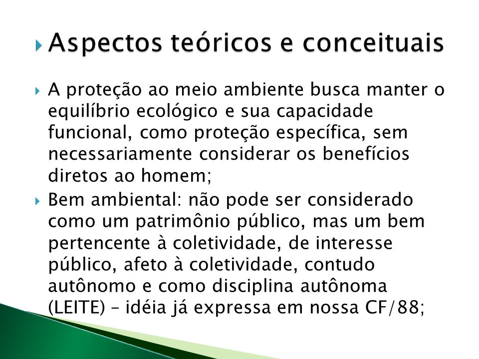 A proteção ao meio ambiente busca manter o equilíbrio ecológico e sua capacidade funcional, como proteção específica, sem necessariamente considerar os benefícios diretos ao homem; Bem ambiental: não pode ser considerado como um patrimônio público, mas um bem pertencente à coletividade, de interesse público, afeto à coletividade, contudo autônomo e como disciplina autônoma (LEITE) – idéia já expressa em nossa CF/88;