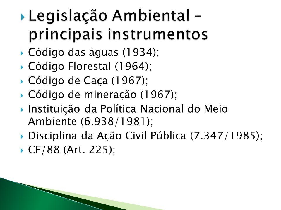 Código das águas (1934); Código Florestal (1964); Código de Caça (1967); Código de mineração (1967); Instituição da Política Nacional do Meio Ambiente (6.938/1981); Disciplina da Ação Civil Pública (7.347/1985); CF/88 (Art.