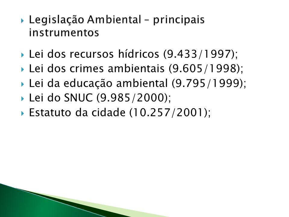 Lei dos recursos hídricos (9.433/1997); Lei dos crimes ambientais (9.605/1998); Lei da educação ambiental (9.795/1999); Lei do SNUC (9.985/2000); Estatuto da cidade (10.257/2001);