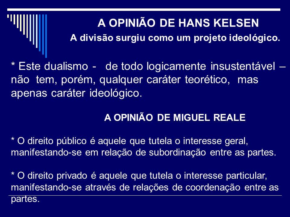 A OPINIÃO DE HANS KELSEN A divisão surgiu como um projeto ideológico.