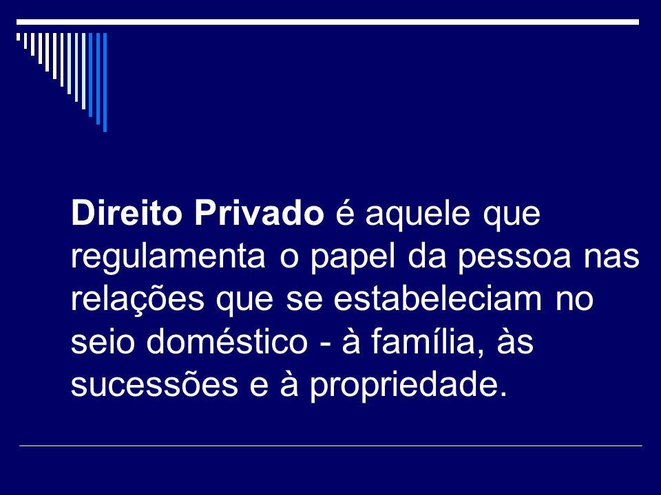 Direito Privado é aquele que regulamenta o papel da pessoa nas relações que se estabeleciam no seio doméstico - à família, às sucessões e à propriedad