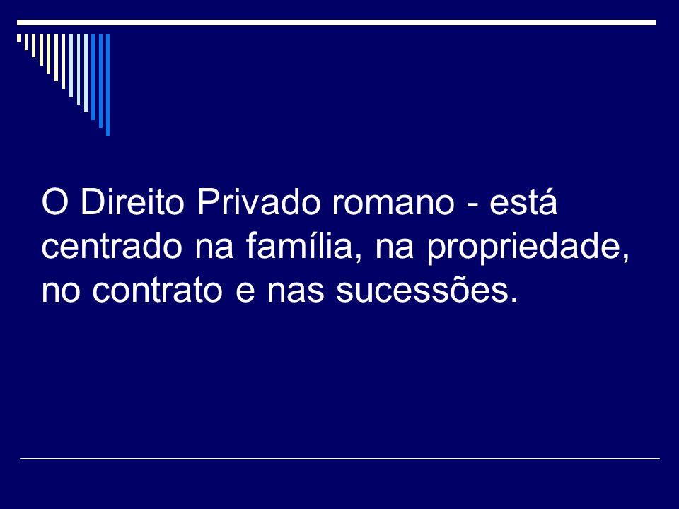 O Direito Privado romano - está centrado na família, na propriedade, no contrato e nas sucessões.