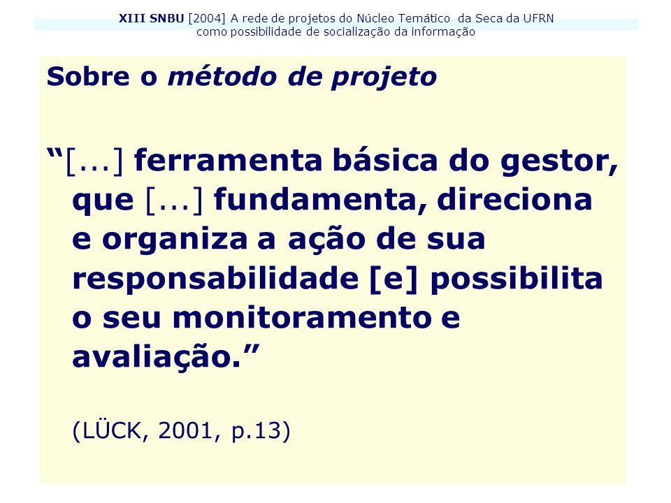XIII SNBU [2004] A rede de projetos do Núcleo Temático da Seca da UFRN como possibilidade de socialização da informação Sobre o método de projeto [...