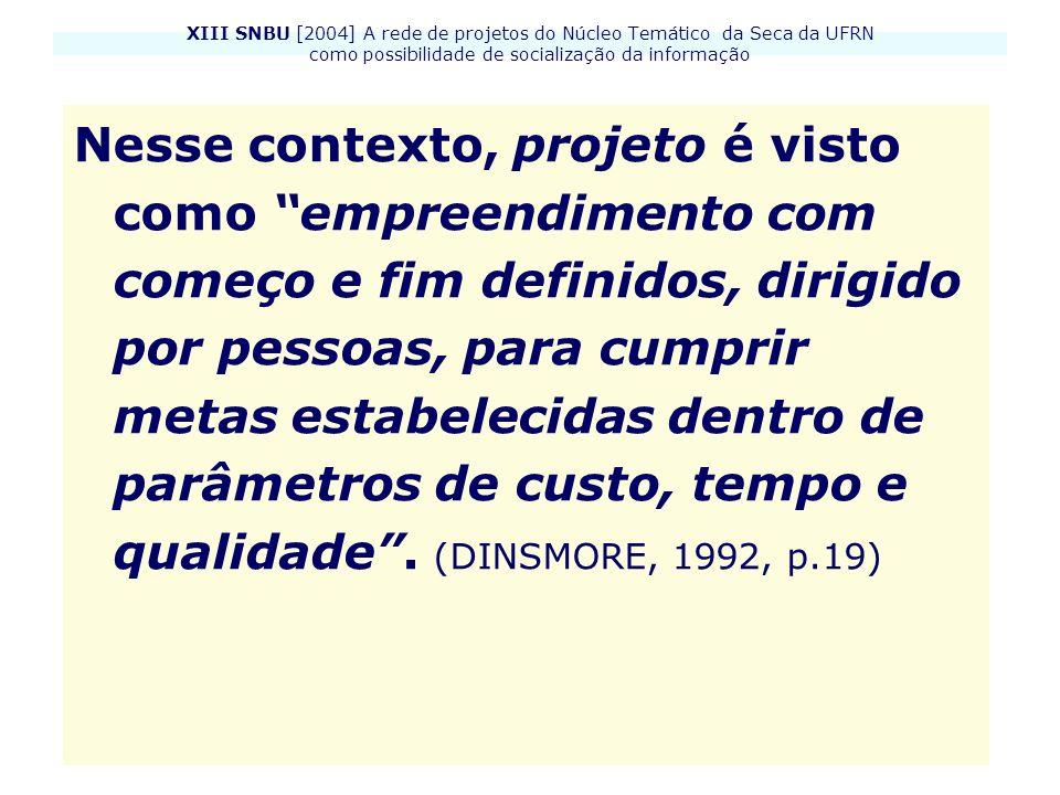 XIII SNBU [2004] A rede de projetos do Núcleo Temático da Seca da UFRN como possibilidade de socialização da informação Nesse contexto, projeto é vist