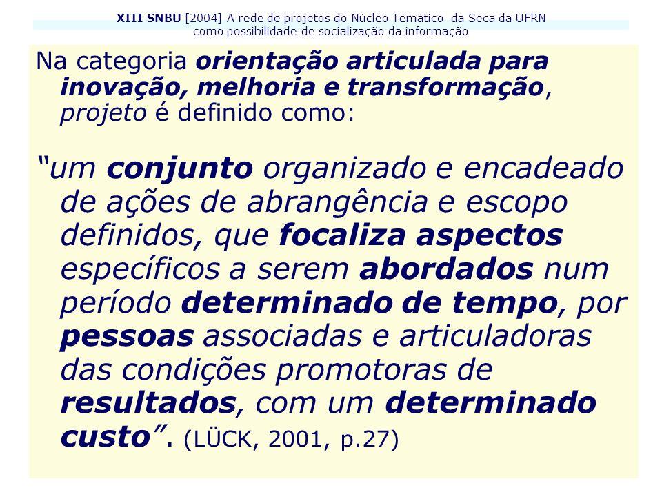 XIII SNBU [2004] A rede de projetos do Núcleo Temático da Seca da UFRN como possibilidade de socialização da informação Na categoria orientação articu