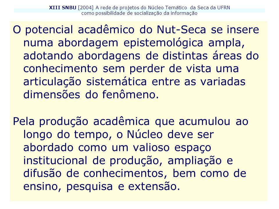 XIII SNBU [2004] A rede de projetos do Núcleo Temático da Seca da UFRN como possibilidade de socialização da informação O potencial acadêmico do Nut-S