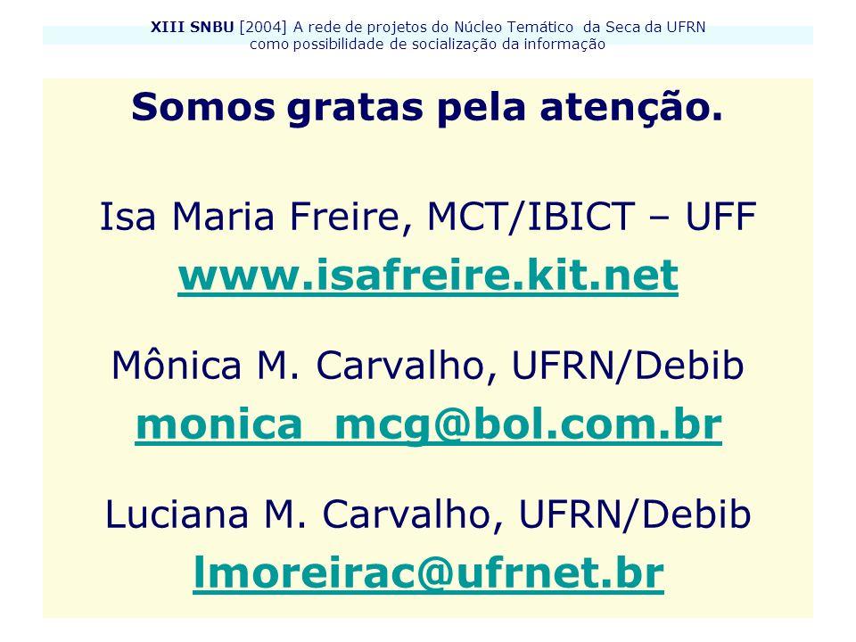 XIII SNBU [2004] A rede de projetos do Núcleo Temático da Seca da UFRN como possibilidade de socialização da informação Somos gratas pela atenção. Isa