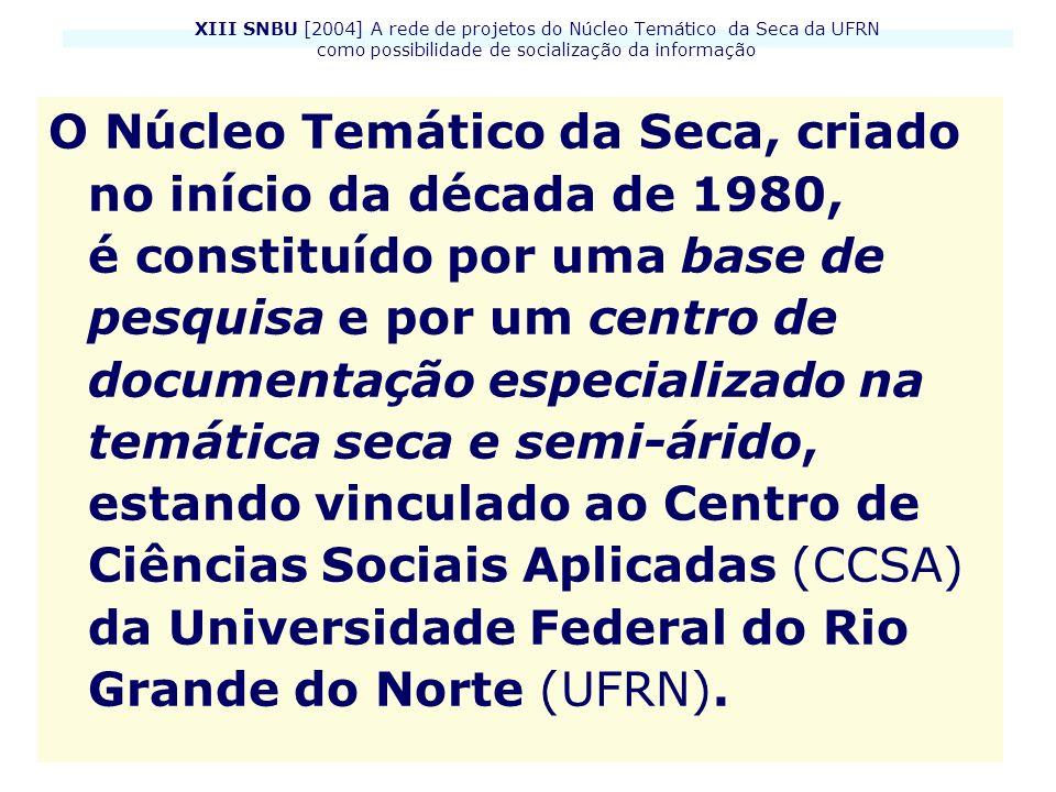 XIII SNBU [2004] A rede de projetos do Núcleo Temático da Seca da UFRN como possibilidade de socialização da informação O Núcleo Temático da Seca, cri