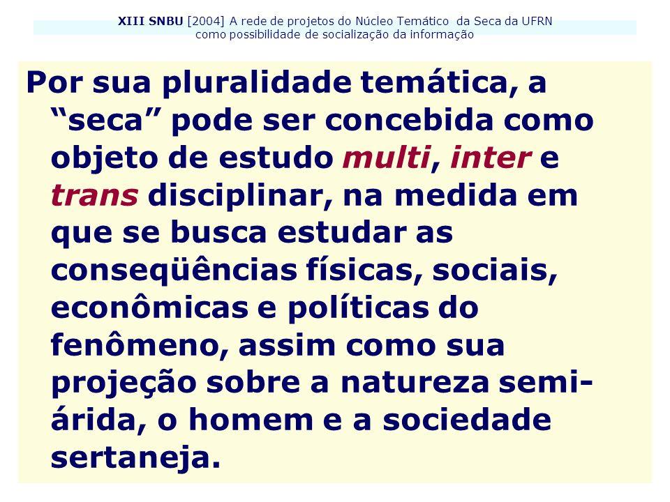 XIII SNBU [2004] A rede de projetos do Núcleo Temático da Seca da UFRN como possibilidade de socialização da informação Por sua pluralidade temática,
