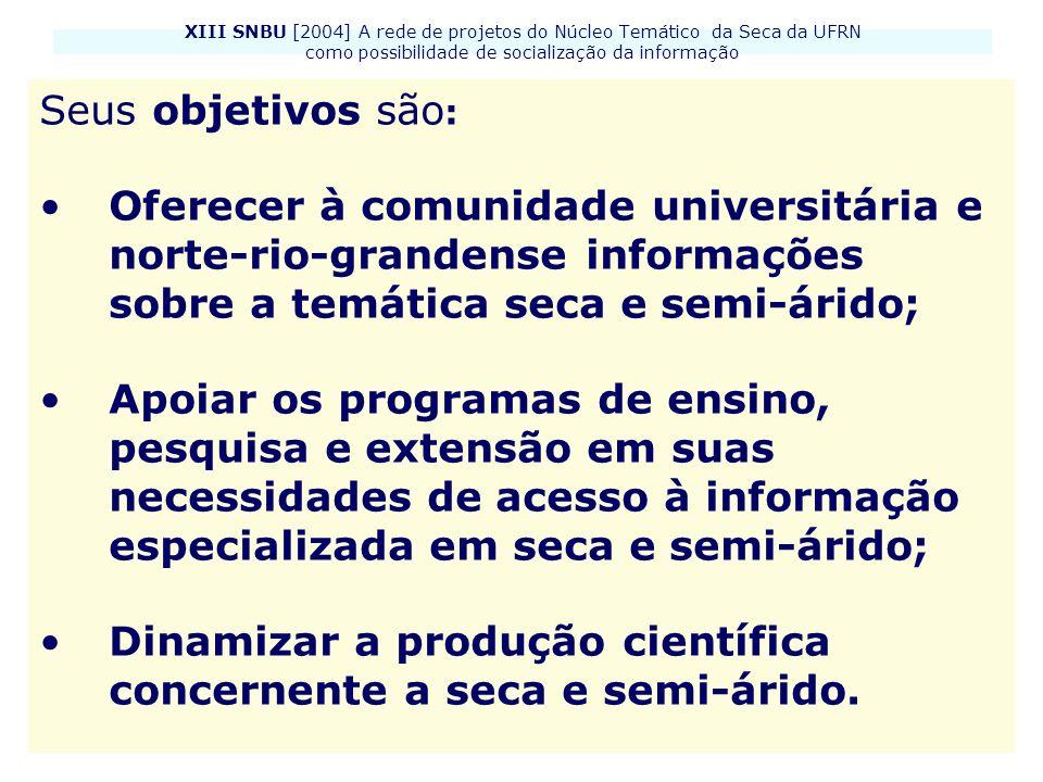 XIII SNBU [2004] A rede de projetos do Núcleo Temático da Seca da UFRN como possibilidade de socialização da informação Seus objetivos são : Oferecer