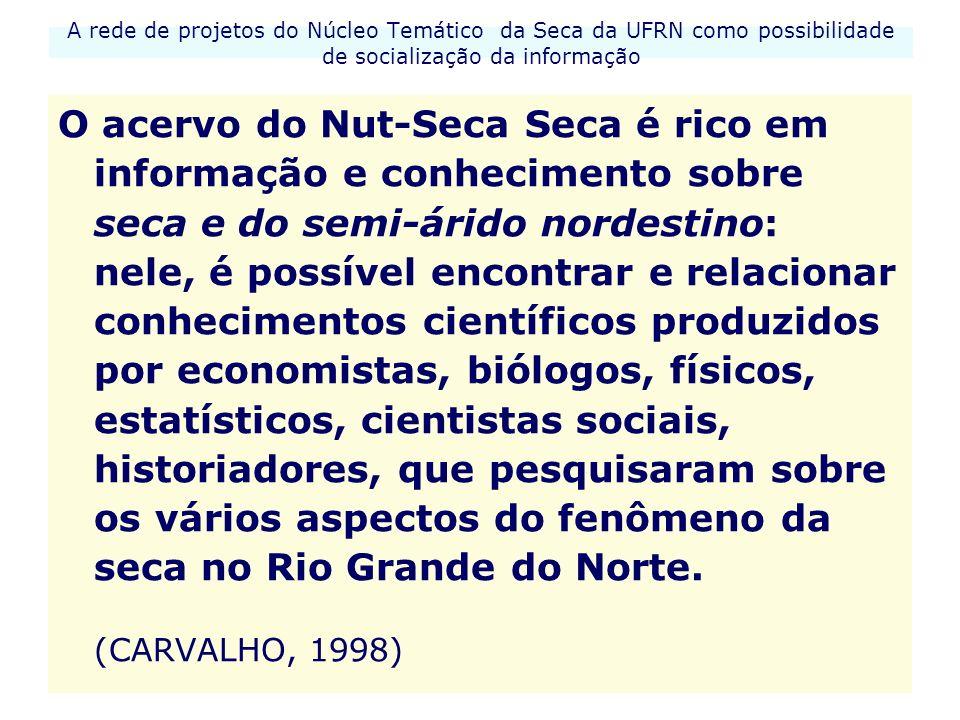 A rede de projetos do Núcleo Temático da Seca da UFRN como possibilidade de socialização da informação O acervo do Nut-Seca Seca é rico em informação