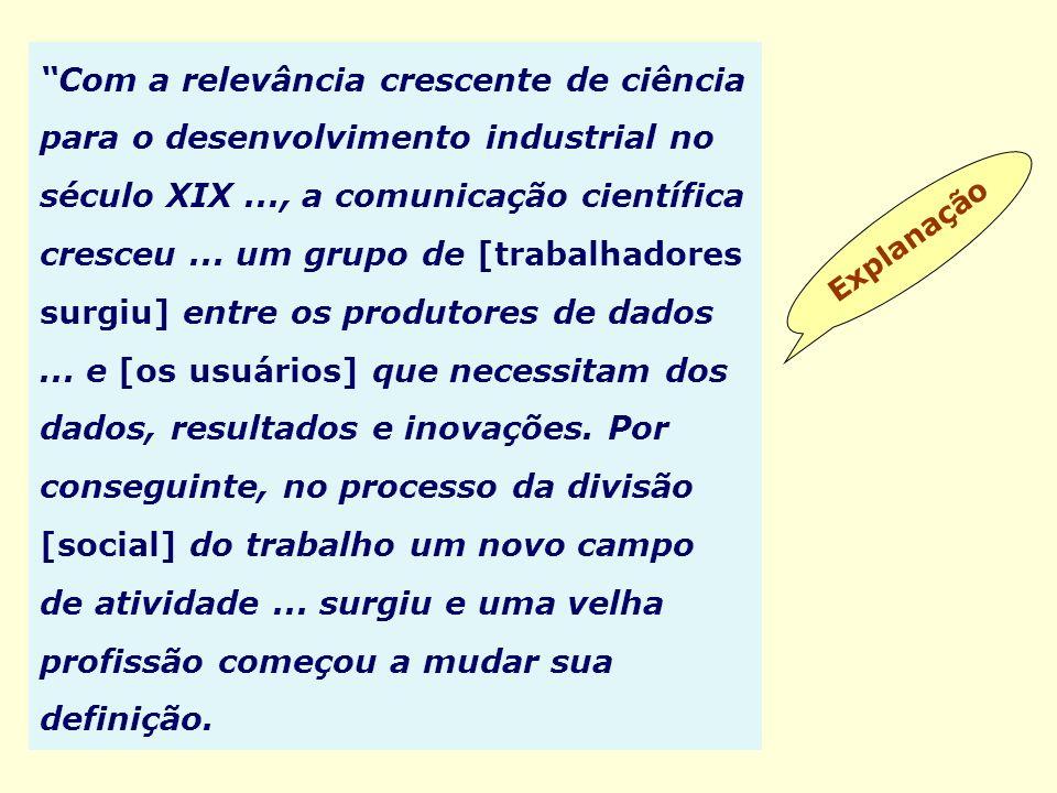 Explanação Com a relevância crescente de ciência para o desenvolvimento industrial no século XIX..., a comunicação científica cresceu... um grupo de [