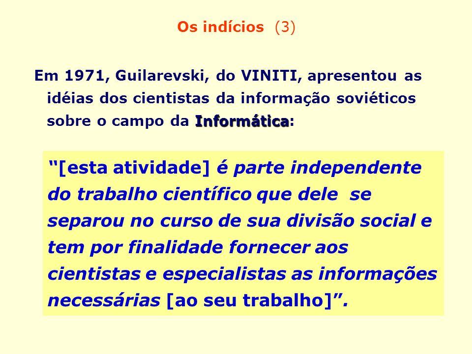 Os indícios (3) Informática Em 1971, Guilarevski, do VINITI, apresentou as idéias dos cientistas da informação soviéticos sobre o campo da Informática