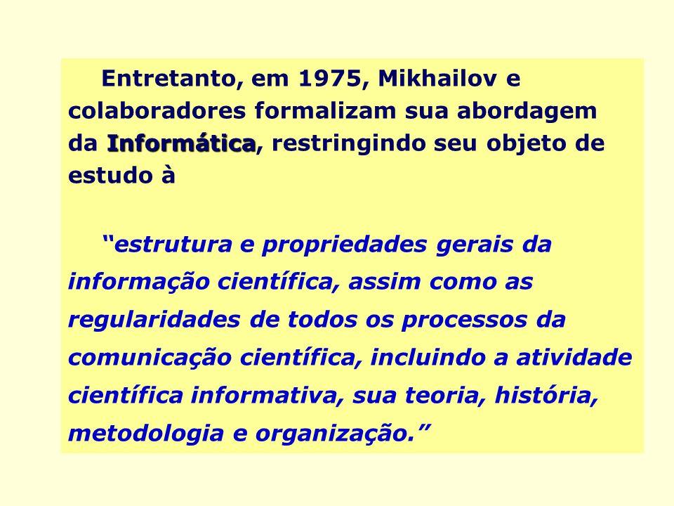 Informática Entretanto, em 1975, Mikhailov e colaboradores formalizam sua abordagem da Informática, restringindo seu objeto de estudo à estrutura e pr
