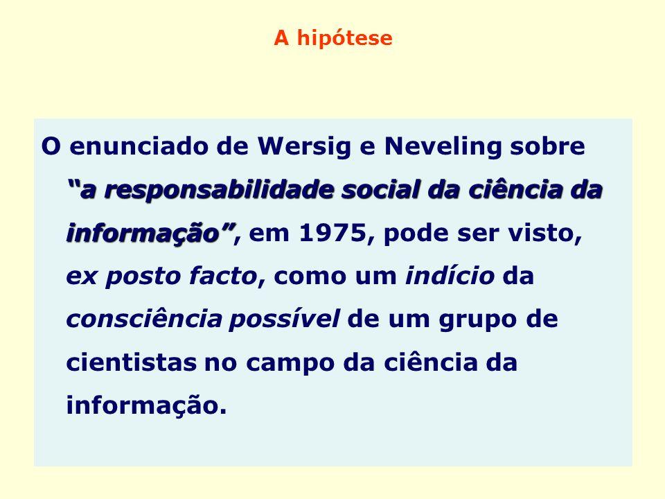 A hipótese a responsabilidade social da ciência da informação O enunciado de Wersig e Neveling sobre a responsabilidade social da ciência da informaçã