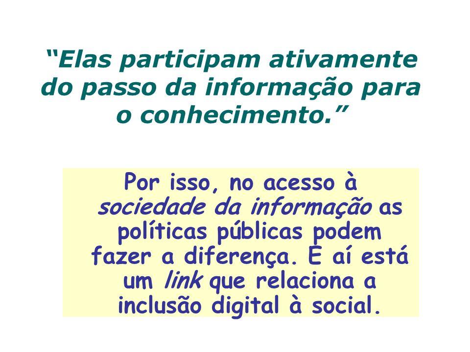 Elas participam ativamente do passo da informação para o conhecimento. Por isso, no acesso à sociedade da informação as políticas públicas podem fazer