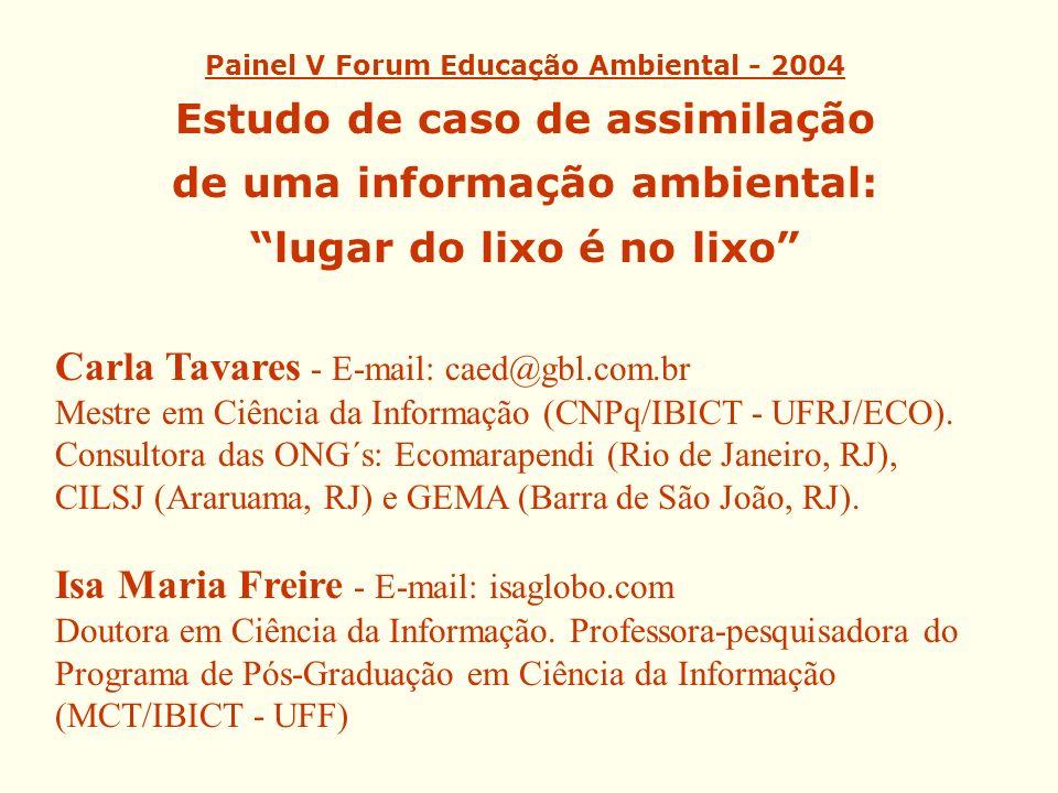 Carla Tavares - E-mail: caed@gbl.com.br Mestre em Ciência da Informação (CNPq/IBICT - UFRJ/ECO). Consultora das ONG´s: Ecomarapendi (Rio de Janeiro, R