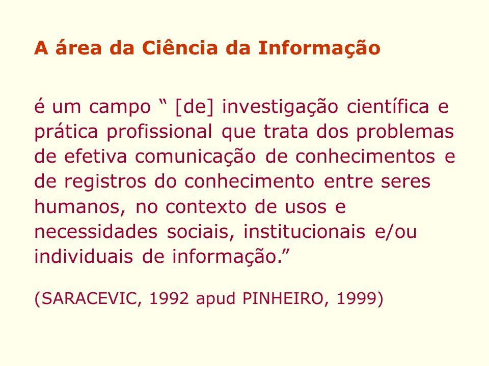 A área da Ciência da Informação é um campo [de] investigação científica e prática profissional que trata dos problemas de efetiva comunicação de conhe