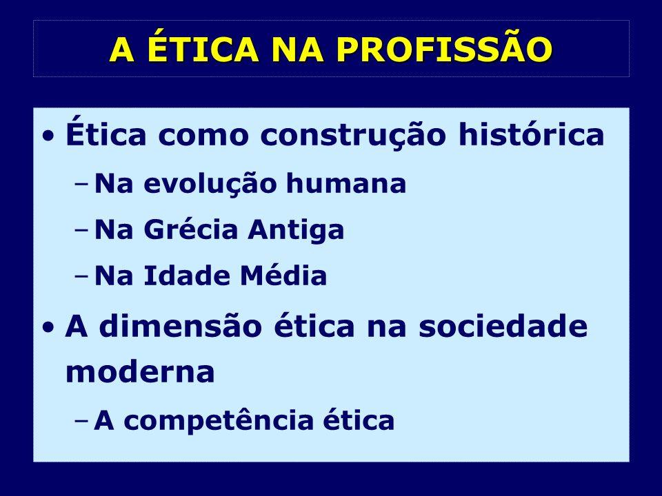 A ÉTICA NA PROFISSÃO Ética como construção histórica –Na evolução humana –Na Grécia Antiga –Na Idade Média A dimensão ética na sociedade moderna –A co