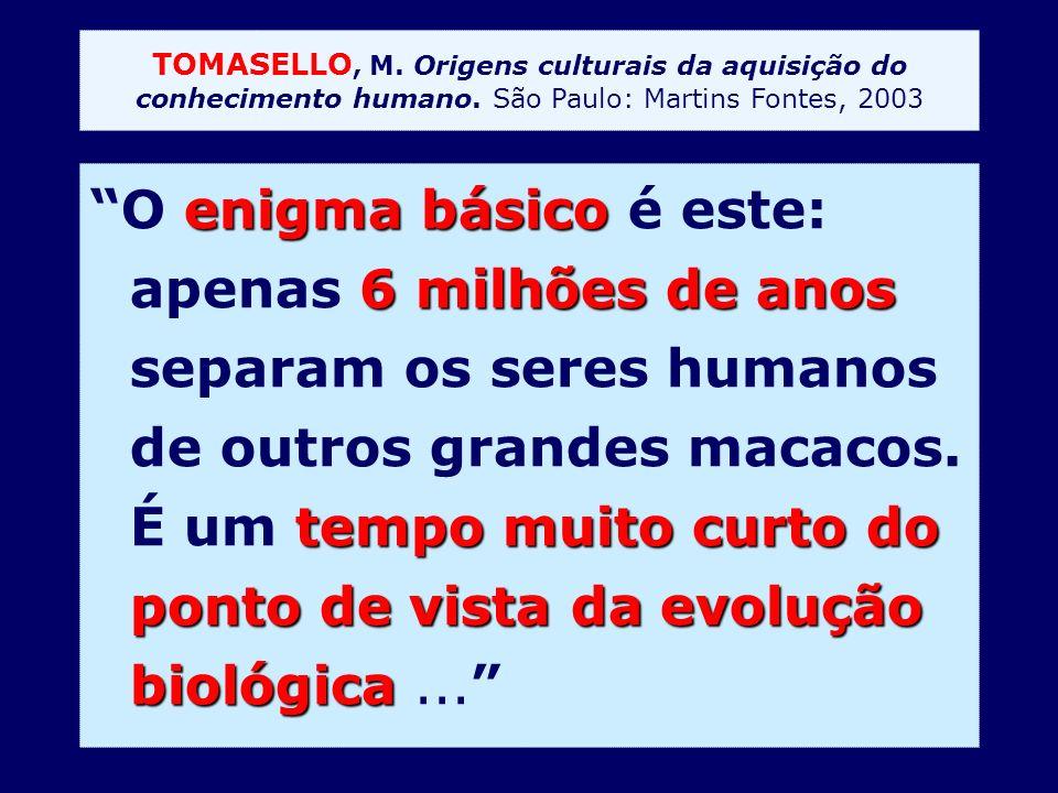TOMASELLO, M. Origens culturais da aquisição do conhecimento humano. São Paulo: Martins Fontes, 2003 enigma básico 6 milhões de anos tempo muito curto