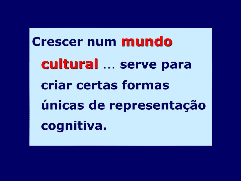 mundo cultural Crescer num mundo cultural... serve para criar certas formas únicas de representação cognitiva.