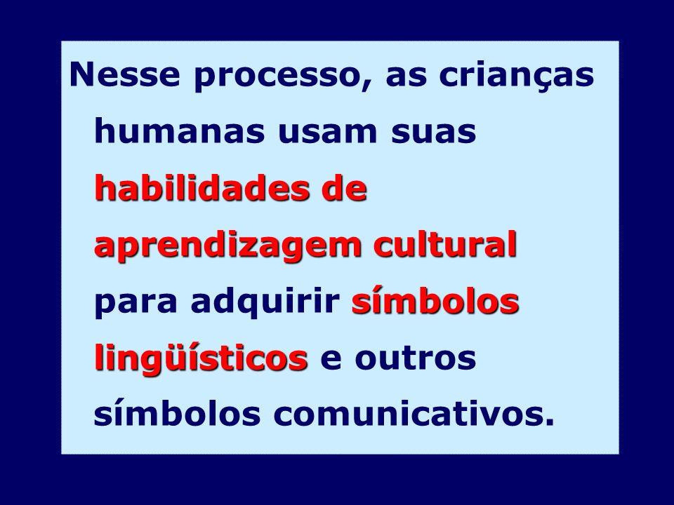 habilidades de aprendizagem cultural símbolos lingüísticos Nesse processo, as crianças humanas usam suas habilidades de aprendizagem cultural para adq