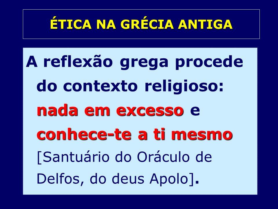 nada em excesso conhece-te a ti mesmo A reflexão grega procede do contexto religioso: nada em excesso e conhece-te a ti mesmo [Santuário do Oráculo de
