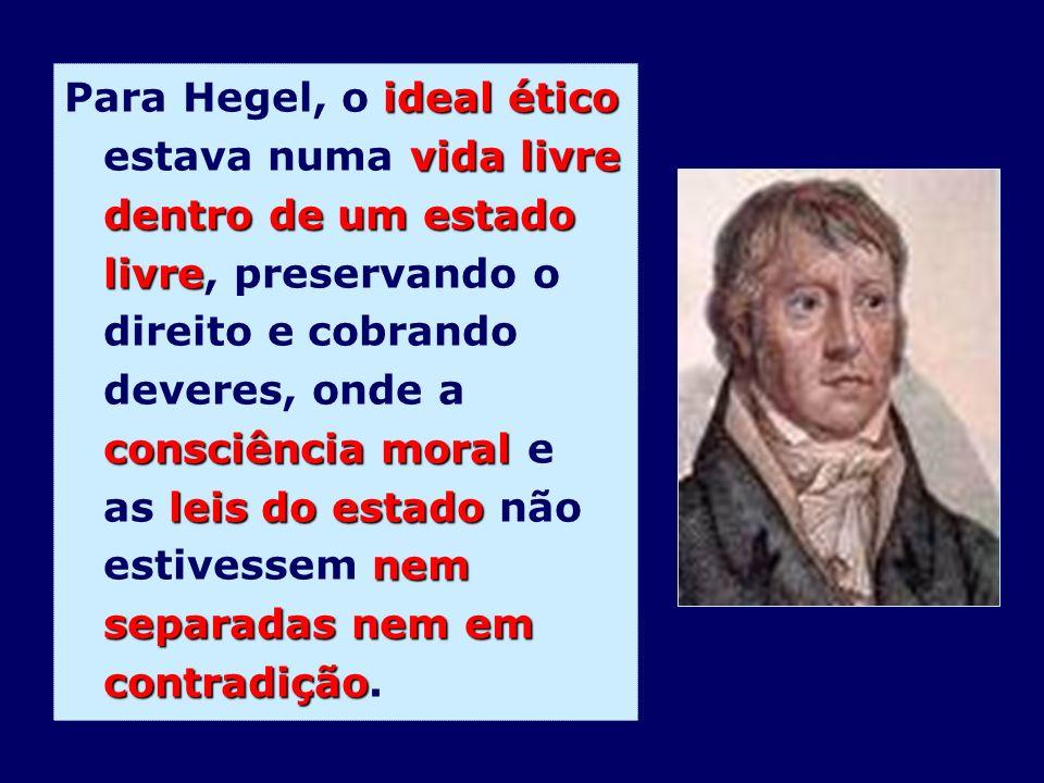 ideal ético vida livre dentro de um estado livre consciência moral leis do estado nem separadas nem em contradição Para Hegel, o ideal ético estava nu