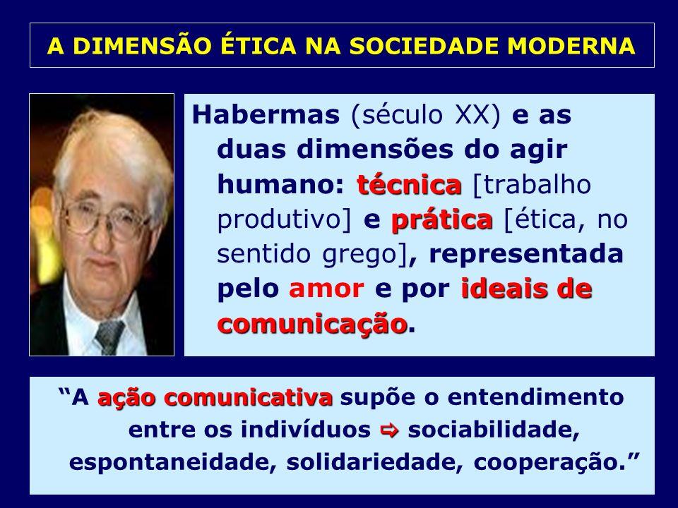 técnica prática ideais de comunicação Habermas (século XX) e as duas dimensões do agir humano: técnica [trabalho produtivo] e prática [ética, no senti