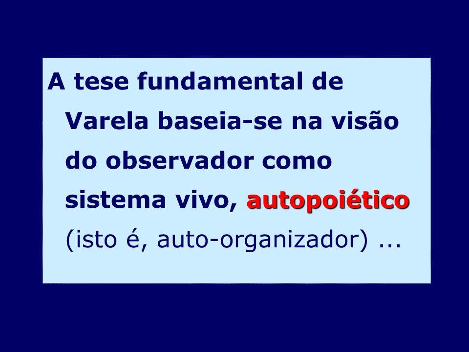 autopoiético A tese fundamental de Varela baseia-se na visão do observador como sistema vivo, autopoiético (isto é, auto-organizador)...