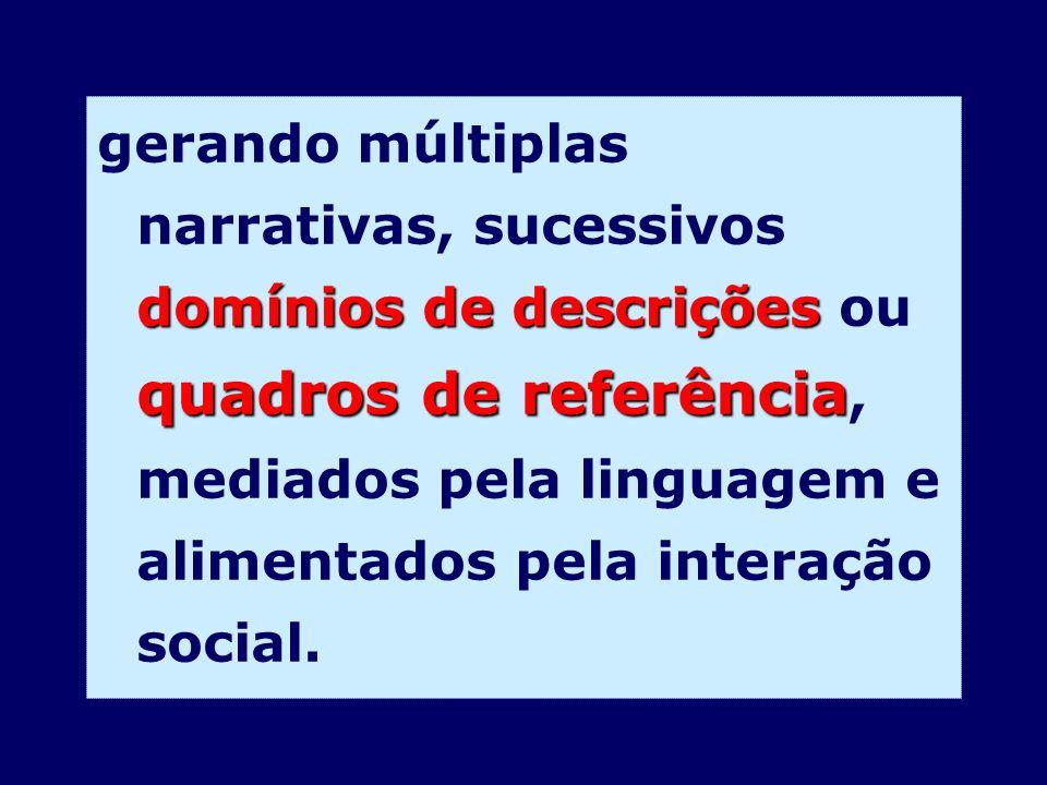 domínios de descrições quadros de referência gerando múltiplas narrativas, sucessivos domínios de descrições ou quadros de referência, mediados pela l