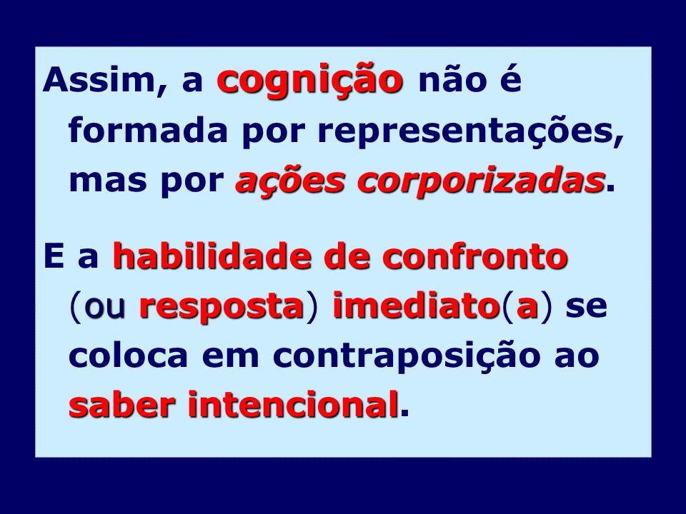 cognição ações corporizadas Assim, a cognição não é formada por representações, mas por ações corporizadas. habilidade de confronto ou respostaimediat