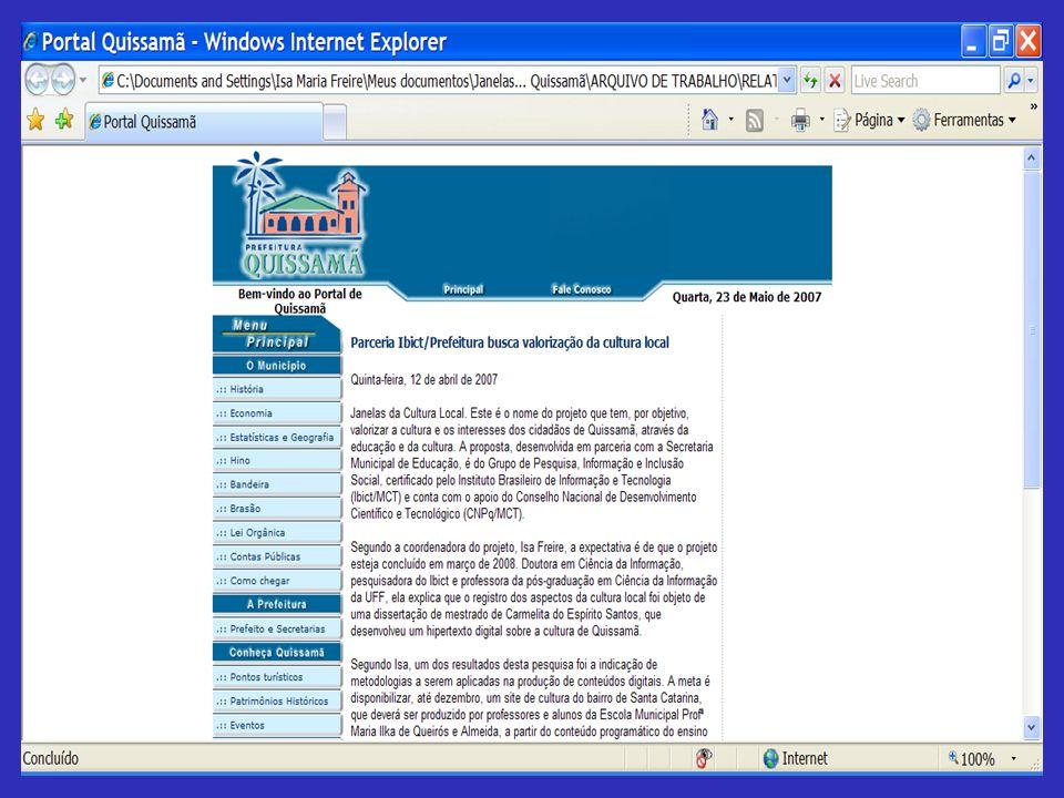 PROJETO JANELAS DA CULTURA LOCAL QUISSAMÃ, RJ COMPETÊNCIAS EM INFORMAÇÃO PRIMEIRO PASSO PARA A INCLUSÃO Oficina de trabalho CARMELITA DO ESPÍRITO SANTO Mestre em Ciência da Informação Maio, 2007 Grupo de Pesquisa Informação e Inclusão Social do IBICT Escola Maria Ilka de Quissamã RJ