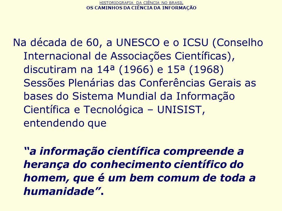 HISTORIOGRAFIA DA CIÊNCIA NO BRASIL OS CAMINHOS DA CIÊNCIA DA INFORMAÇÃO Na década de 60, a UNESCO e o ICSU (Conselho Internacional de Associações Cie