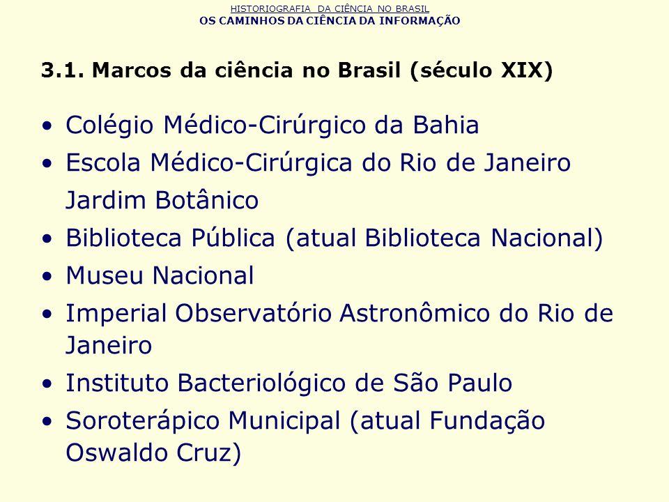 HISTORIOGRAFIA DA CIÊNCIA NO BRASIL OS CAMINHOS DA CIÊNCIA DA INFORMAÇÃO 3.1. Marcos da ciência no Brasil (século XIX) Colégio Médico-Cirúrgico da Bah