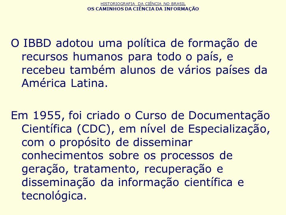 HISTORIOGRAFIA DA CIÊNCIA NO BRASIL OS CAMINHOS DA CIÊNCIA DA INFORMAÇÃO O IBBD adotou uma política de formação de recursos humanos para todo o país,