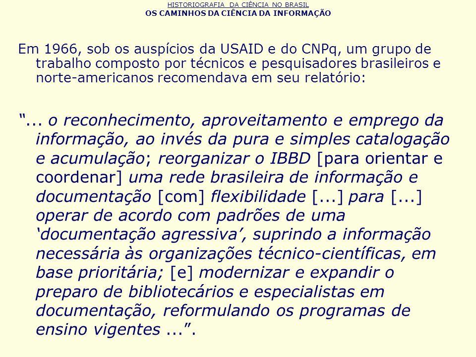 HISTORIOGRAFIA DA CIÊNCIA NO BRASIL OS CAMINHOS DA CIÊNCIA DA INFORMAÇÃO Em 1966, sob os auspícios da USAID e do CNPq, um grupo de trabalho composto p
