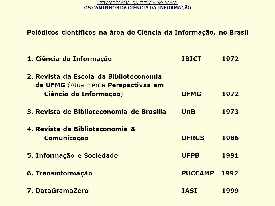 HISTORIOGRAFIA DA CIÊNCIA NO BRASIL OS CAMINHOS DA CIÊNCIA DA INFORMAÇÃO Peíódicos científicos na área de Ciência da Informação, no Brasil 1. Ciência