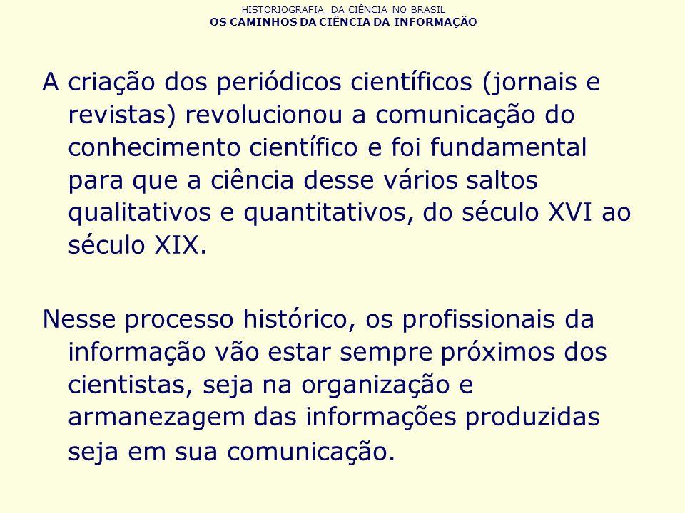 HISTORIOGRAFIA DA CIÊNCIA NO BRASIL OS CAMINHOS DA CIÊNCIA DA INFORMAÇÃO Marcos importantes: A criação do CNPq, que marca a entrada do Brasil, juntamente com outros países, na fase das políticas científicas que são implementadas nos paises desenvolvidos.