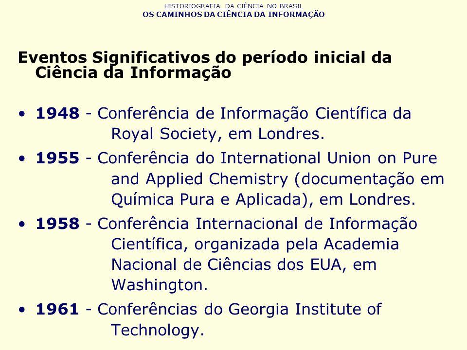 HISTORIOGRAFIA DA CIÊNCIA NO BRASIL OS CAMINHOS DA CIÊNCIA DA INFORMAÇÃO Eventos Significativos do período inicial da Ciência da Informação 1948 - Con