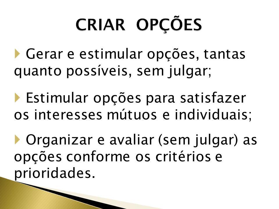 CRIAR OPÇÕES Gerar e estimular opções, tantas quanto possíveis, sem julgar; Estimular opções para satisfazer os interesses mútuos e individuais; Organizar e avaliar (sem julgar) as opções conforme os critérios e prioridades.