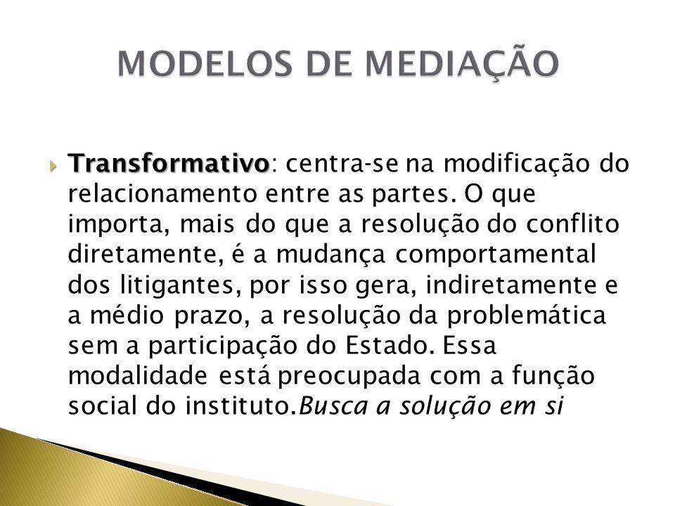 Transformativo Transformativo: centra-se na modificação do relacionamento entre as partes. O que importa, mais do que a resolução do conflito diretame