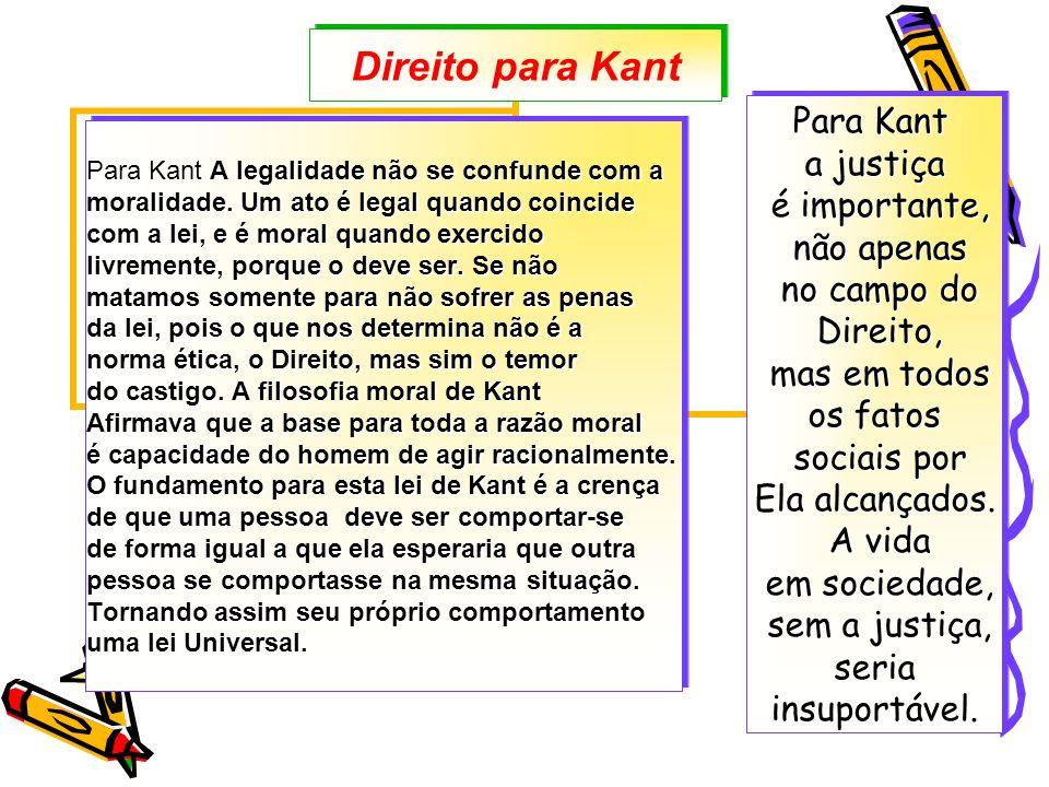 Direito para Kant Para Kant a justiça é importante, é importante, não apenas não apenas no campo do no campo do Direito, Direito, mas em todos mas em todos os fatos sociais por sociais por Ela alcançados.