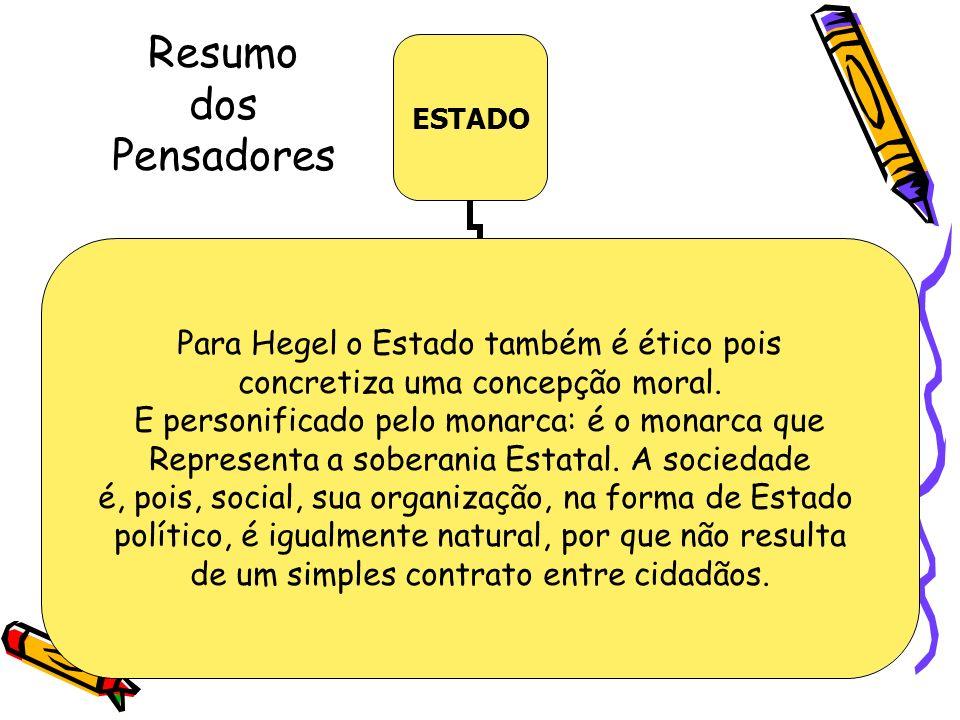 Resumo dos Pensadores ESTADO Para Hegel o Estado também é ético pois concretiza uma concepção moral. E personificado pelo monarca: é o monarca que Rep