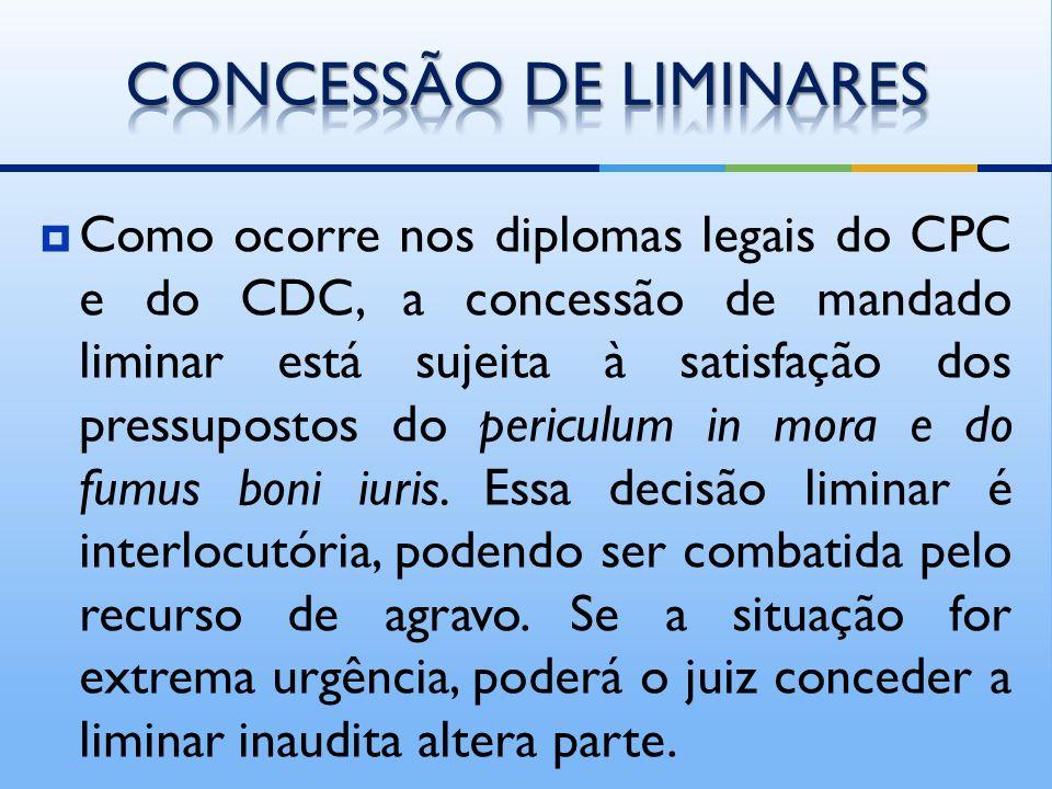 Como ocorre nos diplomas legais do CPC e do CDC, a concessão de mandado liminar está sujeita à satisfação dos pressupostos do periculum in mora e do fumus boni iuris.