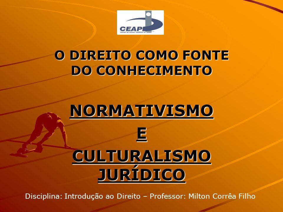 O DIREITO COMO FONTE DO CONHECIMENTO NORMATIVISMOE CULTURALISMO JURÍDICO Disciplina: Introdução ao Direito – Professor: Milton Corrêa Filho