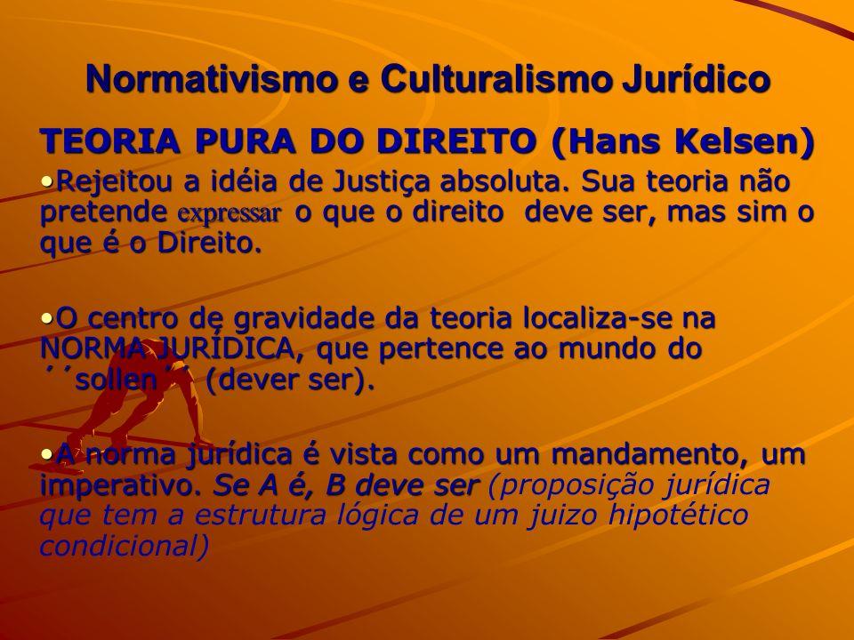 Normativismo e Culturalismo Jurídico TEORIA PURA DO DIREITO (Hans Kelsen) Rejeitou a idéia de Justiça absoluta. Sua teoria não pretende expressar o qu