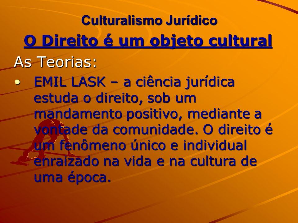 Culturalismo Jurídico O Direito é um objeto cultural As Teorias: EMIL LASK – a ciência jurídica estuda o direito, sob um mandamento positivo, mediante